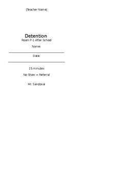 Detention Slip