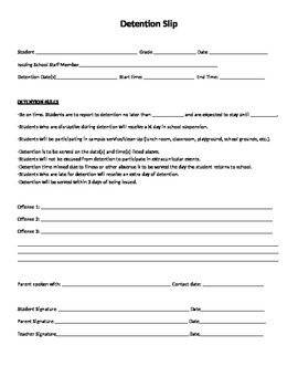 Detention Slip (Editable)