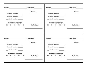 Detention Slip Teaching Resources