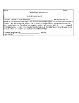 Detention Statement- Misbehaving for Substitute Teacher