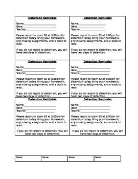 Detention reminders for students/PBIS citation/PBIS positi