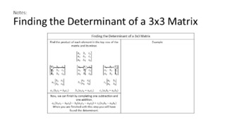 Determinants and Multiplicative Inverses of Matrices: Journal Activities w/Keys