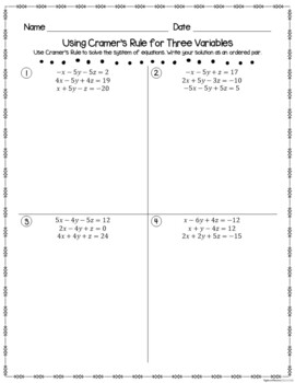 Determinants and Multiplicative Inverses of Matrices - Student Practice Pages