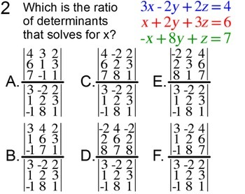 Determinants of 3x3 Matrices and Cramer's Rule for Power Point