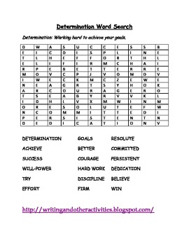Determination Word Search