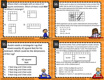 3.6C 3.6D Determine Area of Rectangles Word Problem Task Cards STAAR