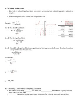 Determine Limits by Graphs and Tables Notes
