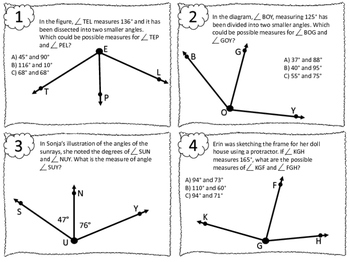 NEW Finding Missing Angles Task Cards 4.7E 4.MD.C.7