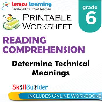 Determine Technical Meanings Printable Worksheet, Grade 6