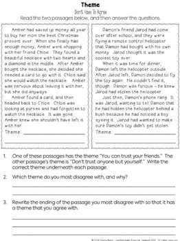 Determine Theme - Reading Passages, Activities, Graphic Organizers, Practice