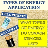 Determine Types of Energy Common Objects Use Station Activity; Application