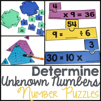 Determine Unknown Numbers for Multiplication and Division Equations Puzzles