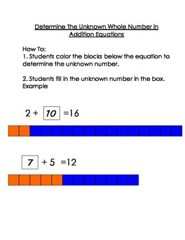 Determine the Unknown Whole Number in Addition Equations