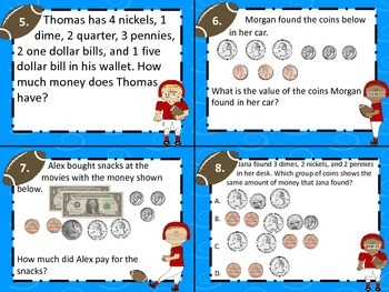 3.4C Determine the Value of Coins & Bills Computation Task Cards STAAR