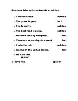 Determine the opinion sentence