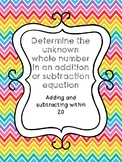 Determine the unknown whole number in an addition or subtr