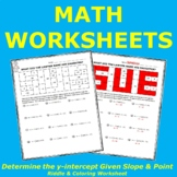 Determine y-intercept Given Slope and Point Riddle & Coloring Worksheet