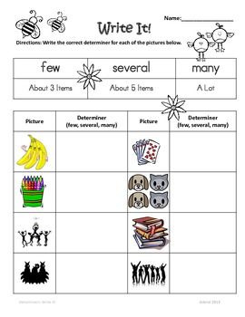 Determiners: 1st - 2nd Grade Common Core Practice Worksheets