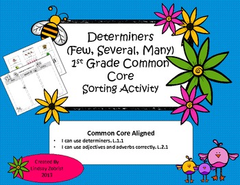 Determiners: 1st-2nd Grade Common Core Sorting Activity