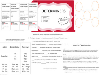 Determiners 4th grade