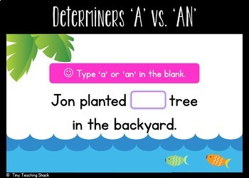 Determiners- Articles A and AN Boom Cards