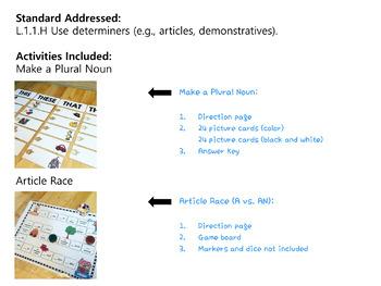 determiners articles demonstratives grammar activities tpt. Black Bedroom Furniture Sets. Home Design Ideas