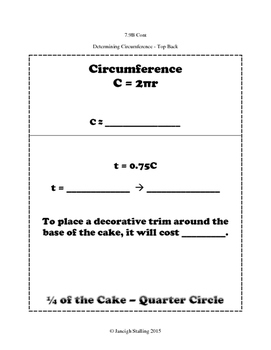 Determing Circumference and Area of Circles INB TEKS 7.9B