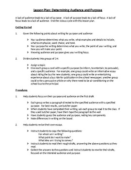 Determining Audience and Purpose assignment