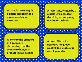 Determining Author's Purpose Task Cards