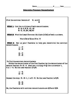 Determining Common Denominators Notes and Practice