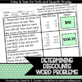 Determining Discounts Word Problems |  Solve and Snip® |  TEKS 7.4d