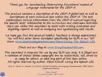 Determining Educational Impact of Language Weaknesses (CELF-5)