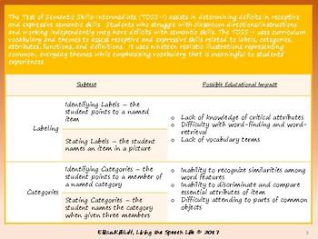 Determining Educational Impact of the Test of Semantic Skills-Intermediate