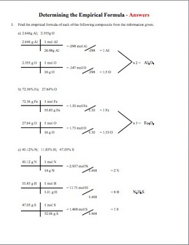 Determining Empirical Formulas Worksheet by Amy Brown Science | TpT