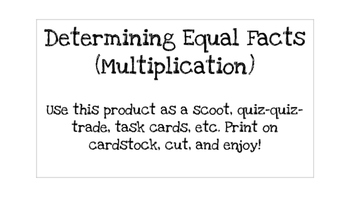 Determining Equal Facts (Multiplication)