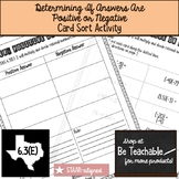 Determining If Answers Are Positive or Negative Card Sort (6.3E)