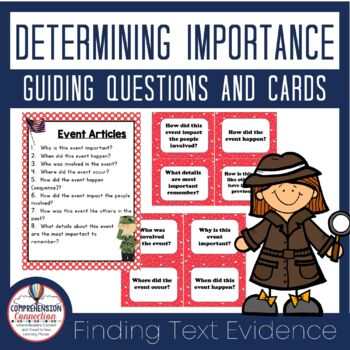 Determining Importance Question Task Cards and Anchor Charts