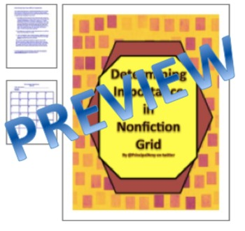 Determining Importance in Informational Text Thinktivity- Grid & Lessons