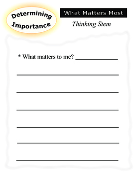 Determining Importance - student/class response sheets