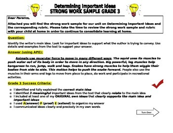 Determining Important Ideas Strong Work Sample and Rubric