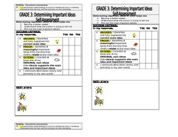 Determining Important Ideas - Student Self Assessment (Assessment as Learning)