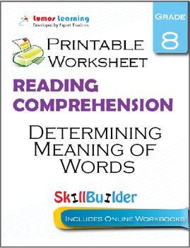 Determining Meaning of Words Printable Worksheet, Grade 8