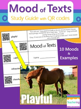 Determining Mood of Texts Study Guide with QR Codes