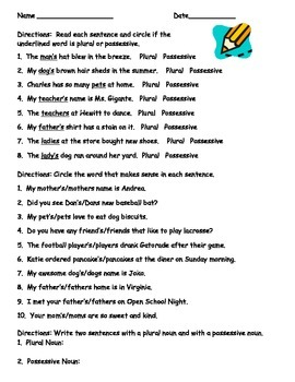 Determining Plurals or Possessives Worksheet