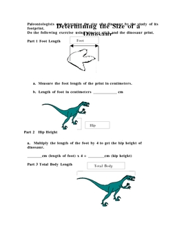 Determining the size of a dinosaur
