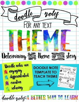 determining theme doodle notes a better way to learn tpt