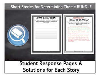 Determining Theme for Spanish Reading Comprehension BUNDLE-5 Short Stories