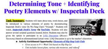 Determining Tone + Identifying Poetry Elements w/ Inspectah Deck + HipHop Unit