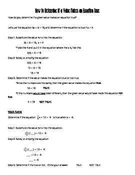 Determining if a Value Makes an Equation True TEKS 7.11B Guided Notes & Problems