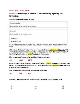 Determining if decimals Repeat or Terminate